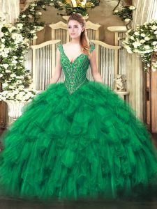 Green Ball Gowns Beading and Ruffles 15 Quinceanera Dress Lace Up Organza Sleeveless Floor Length