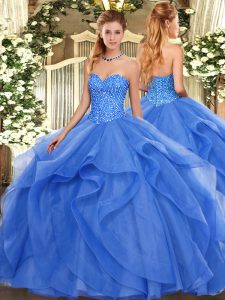 Sleeveless Tulle Floor Length Lace Up Quinceanera Gowns in Blue with Beading and Ruffles