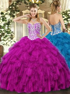 Elegant Tulle Sweetheart Sleeveless Lace Up Beading and Ruffles Quinceanera Dresses in Fuchsia