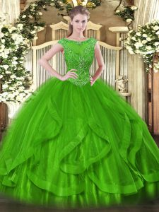 Green Ball Gowns Scoop Sleeveless Tulle Floor Length Zipper Beading Quinceanera Gowns