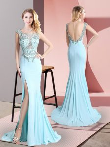 Fashion Sleeveless Chiffon Sweep Train Backless Prom Party Dress in Aqua Blue with Beading