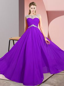 Chiffon Sleeveless Floor Length Prom Gown and Beading
