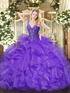 V-neck Sleeveless Organza 15th Birthday Dress Beading and Ruffles Lace Up
