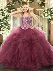 Ball Gowns Quinceanera Dress Burgundy Sweetheart Tulle Sleeveless Floor Length Lace Up