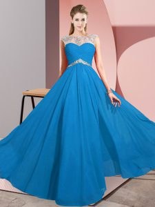 Nice Blue Scoop Clasp Handle Beading Prom Dresses Sleeveless