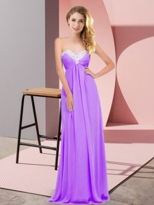Gorgeous Empire Prom Dress Lavender Sweetheart Chiffon Sleeveless Floor Length Lace Up