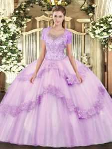 Lilac Scoop Neckline Beading and Appliques Quinceanera Dresses Sleeveless Clasp Handle