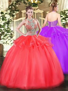 Modern Tulle Halter Top Sleeveless Lace Up Beading and Ruffles Quinceanera Dresses in Coral Red