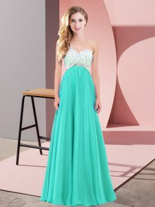 Most Popular Turquoise Prom and Party with Beading One Shoulder Sleeveless Criss Cross