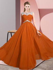 Extravagant Chiffon Scoop Sleeveless Clasp Handle Beading Prom Dress in Rust Red