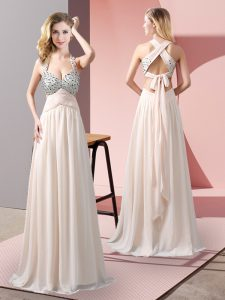 Best Selling Empire Prom Party Dress Champagne Halter Top Chiffon Sleeveless Floor Length Criss Cross