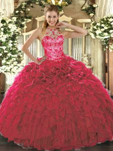 Dynamic Red Lace Up Quinceanera Dress Beading and Ruffles Sleeveless Floor Length