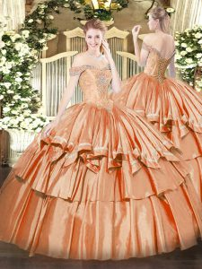 Charming Orange Red Organza Lace Up Off The Shoulder Sleeveless Floor Length Sweet 16 Dress Beading and Ruffled Layers