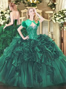 Dark Green Ball Gowns Beading and Ruffles 15 Quinceanera Dress Lace Up Organza Sleeveless Floor Length