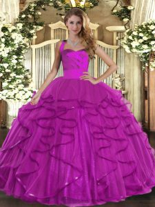 Fuchsia Mermaid Ruffles Quinceanera Dresses Lace Up Tulle Sleeveless Floor Length