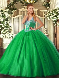High Quality Green Tulle Lace Up Vestidos de Quinceanera Sleeveless Floor Length Beading