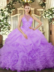 Classical Lavender Sleeveless Floor Length Beading and Ruffles and Pick Ups Lace Up Ball Gown Prom Dress