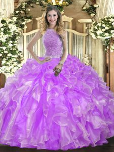 Enchanting High-neck Sleeveless Quinceanera Gown Floor Length Beading and Ruffles Lavender Organza