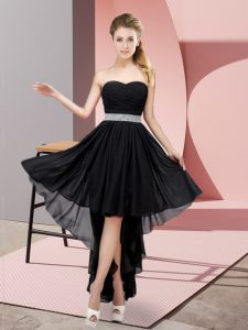 Luxurious Black Prom Gown Prom and Party with Beading Sweetheart Sleeveless Lace Up