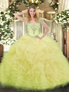 Yellow Organza Lace Up V-neck Sleeveless Floor Length Quinceanera Gown Beading and Ruffles and Pick Ups