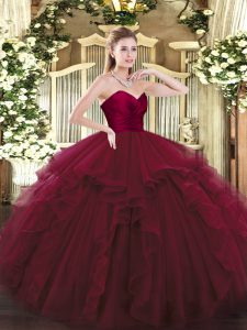 Pretty Wine Red Ball Gowns Tulle Sweetheart Sleeveless Ruffles Floor Length Lace Up Sweet 16 Quinceanera Dress