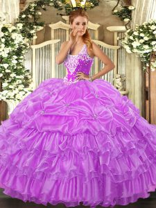 Lilac Lace Up Straps Beading and Ruffled Layers and Pick Ups Quinceanera Dresses Organza Sleeveless
