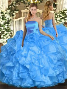 Pretty Baby Blue Strapless Lace Up Ruffles Quinceanera Dresses Sleeveless