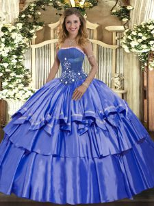 Blue Sleeveless Organza and Taffeta Lace Up Quince Ball Gowns for Military Ball and Sweet 16 and Quinceanera