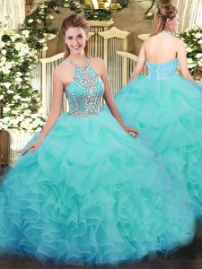 Classical Tulle Halter Top Sleeveless Lace Up Ruffles Quinceanera Gowns in Aqua Blue