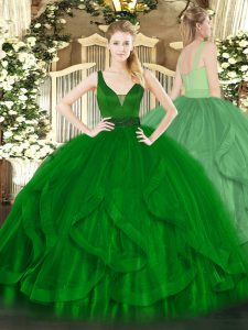 Nice Dark Green Straps Zipper Beading and Ruffles Sweet 16 Dress Sleeveless