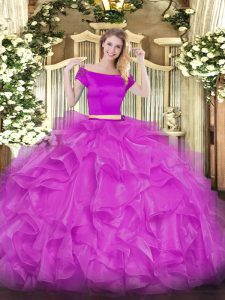Exceptional Organza Off The Shoulder Short Sleeves Zipper Appliques and Ruffles 15 Quinceanera Dress in Fuchsia
