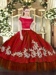 New Arrival Floor Length Wine Red Quinceanera Dress Organza and Taffeta Short Sleeves Embroidery
