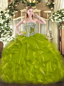 Sleeveless Floor Length Beading and Ruffles Lace Up Quinceanera Gown with Olive Green
