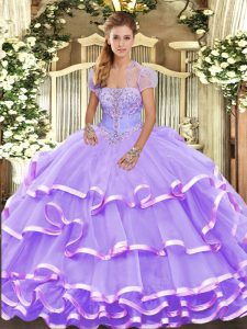 Lavender 15th Birthday Dress Military Ball and Sweet 16 and Quinceanera with Beading and Ruffled Layers Strapless Sleeveless Lace Up