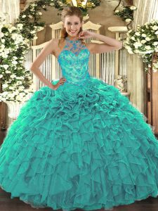 High Class Beading and Embroidery and Ruffles Quinceanera Gown Turquoise Lace Up Sleeveless Floor Length