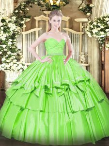 Sweetheart Neckline Beading and Lace and Ruffled Layers Quince Ball Gowns Sleeveless Zipper