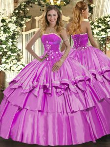 Clearance Lilac Sleeveless Beading and Ruffled Layers Floor Length 15th Birthday Dress