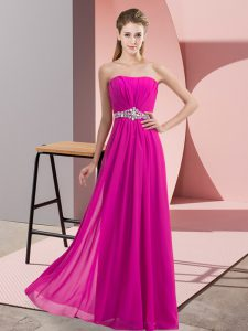 Fuchsia Lace Up Strapless Beading Chiffon Sleeveless