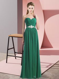 Pretty Dark Green Lace Up Evening Dress Beading Sleeveless Floor Length