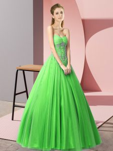 Unique Sweetheart Sleeveless Tulle Homecoming Dress Beading Lace Up