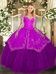 Floor Length Ball Gowns Long Sleeves Purple Ball Gown Prom Dress Lace Up