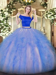 Fitting Floor Length Blue And White Vestidos de Quinceanera Off The Shoulder Short Sleeves Zipper