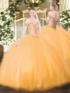 Hot Selling Orange Tulle Lace Up Quince Ball Gowns Sleeveless Floor Length Beading