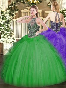 Green Tulle Lace Up Quince Ball Gowns Sleeveless Floor Length Beading