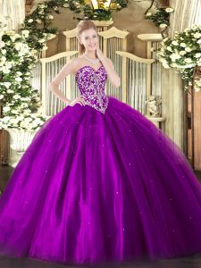 Eggplant Purple Sweetheart Neckline Beading Quinceanera Dress Sleeveless Lace Up