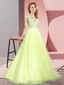 Captivating A-line Prom Evening Gown Light Yellow V-neck Tulle Sleeveless Floor Length Zipper