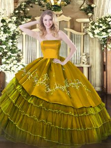Brown Ball Gowns Strapless Sleeveless Organza and Taffeta Floor Length Zipper Embroidery and Ruffled Layers Sweet 16 Quinceanera Dress