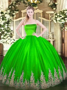 Fantastic Floor Length Sweet 16 Dresses Strapless Sleeveless Zipper