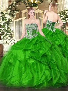 New Arrival Sleeveless Floor Length Beading and Ruffles Lace Up Quinceanera Dresses