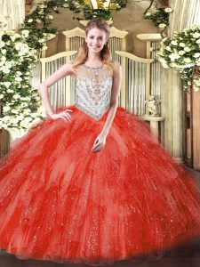Dramatic Tulle Scoop Sleeveless Zipper Beading and Ruffles Sweet 16 Dress in Coral Red